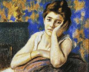 Woman leaning on a chair — Федерико Дзандоменеги