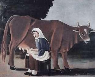 Женщина доит корову — Нико Пиросмани