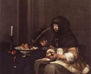 Woman Peeling Apple — Герард Терборх