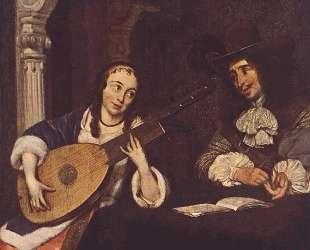 Woman Playing the Lute — Герард Терборх