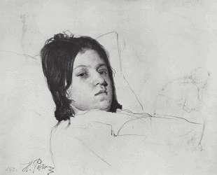 Женская голова (В. А.Репина, лежащая в постели) — Илья Репин