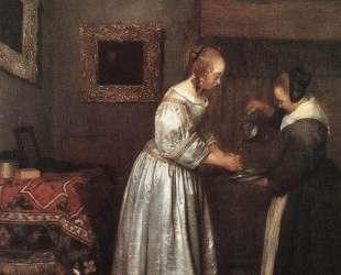Woman Washing Hands — Герард Терборх