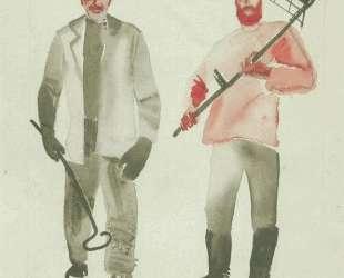 Рабочий и крестьянин. Рисунок для журнала «Искорка» — Александр Дейнека