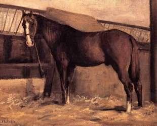 Yerres, Reddish Bay Horse in the Stable — Гюстав Кайботт