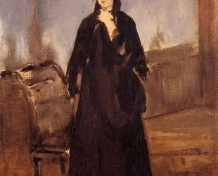 Young woman with a pink shoe (Portrait of Berthe Morisot) — Эдуард Мане