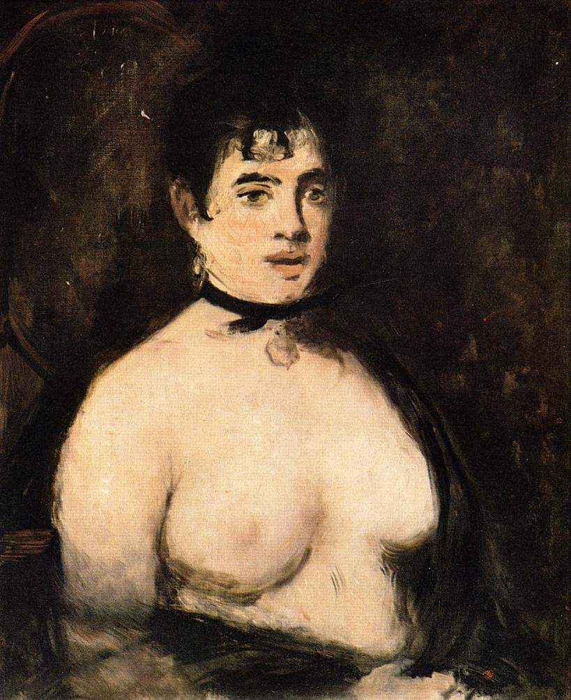 Brunette with bare breasts — Эдуард Мане