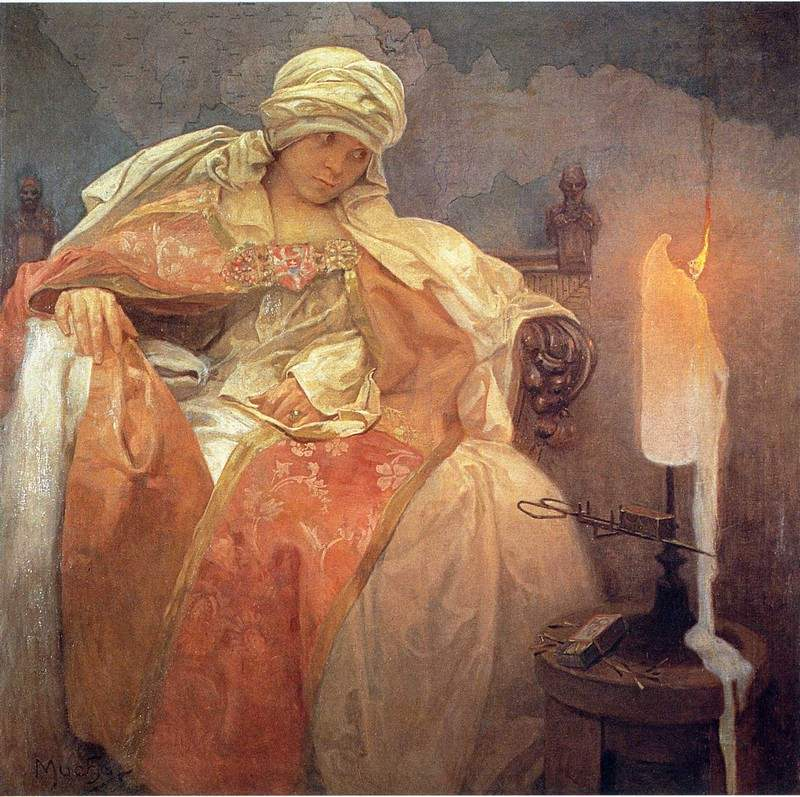 Woman with a Burning Candle — Альфонс Муха