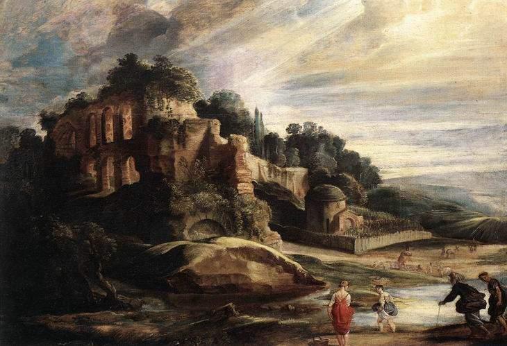 Пейзаж с руинами Палатина в Риме, 1608