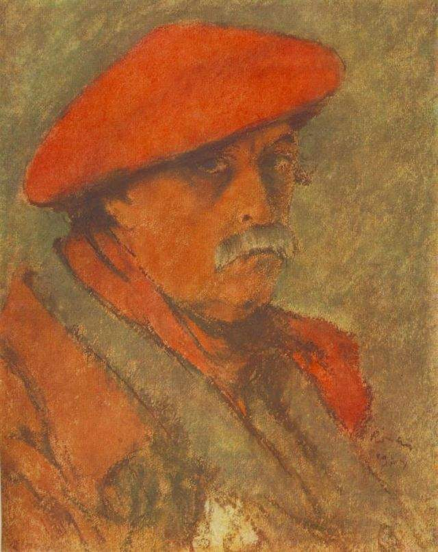 Автопортрет в красном берете 1924