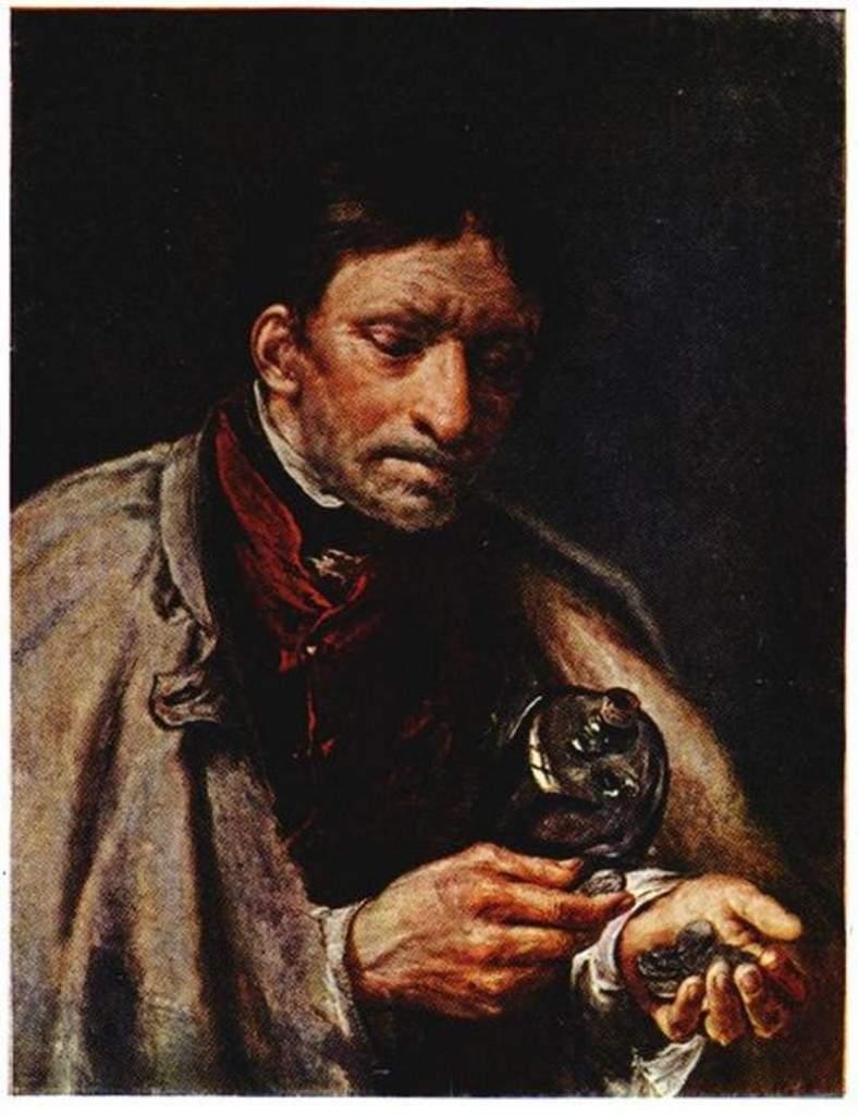 Слуга со штофом, считающий деньги 1850-е
