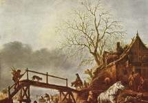 Таверна на замерзшей реке, 1645