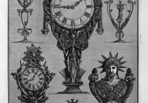 Three clocks and three candelabra
