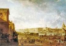 Вид на Адмиралтейство и Дворцовую набережную от Первого кадетского корпуса
