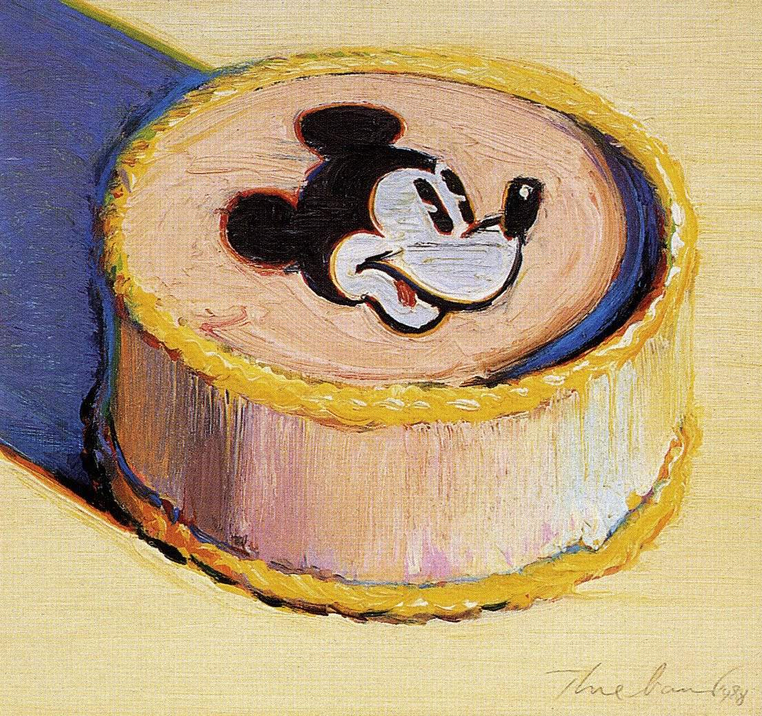 Wayne-Thiebaud-Yellow-Mickey-Mouse-Cake-1998