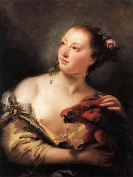 Женщина с попугаем . 1760—61
