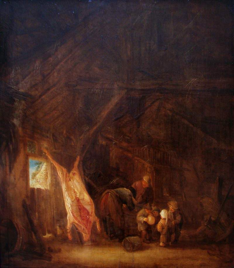 A Barn Interior with a Slaughtered Pig, Children Playing Beyond 1645