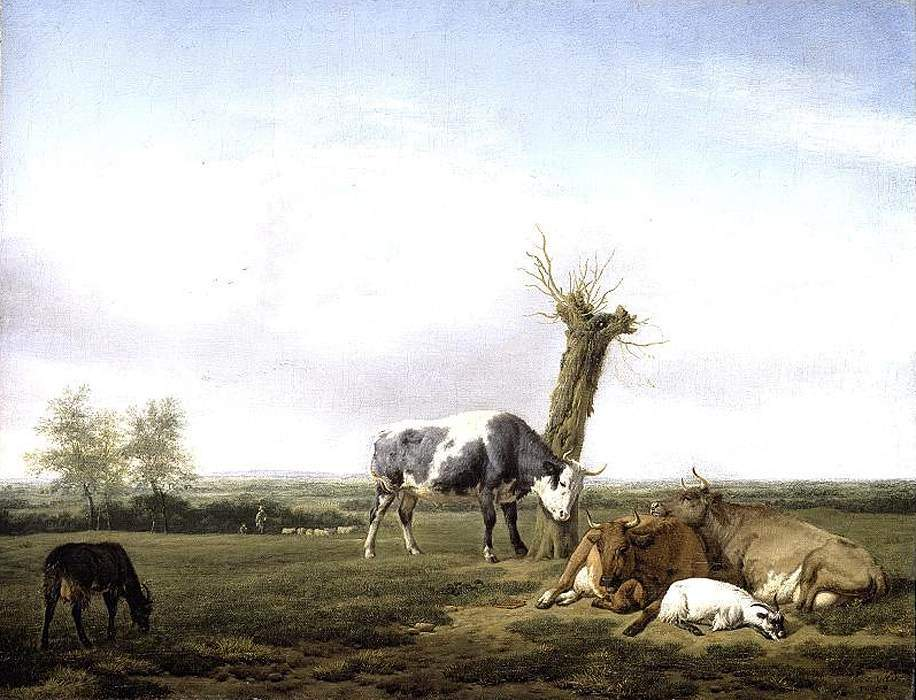 Cattle and Goats in a Meadow 1658
