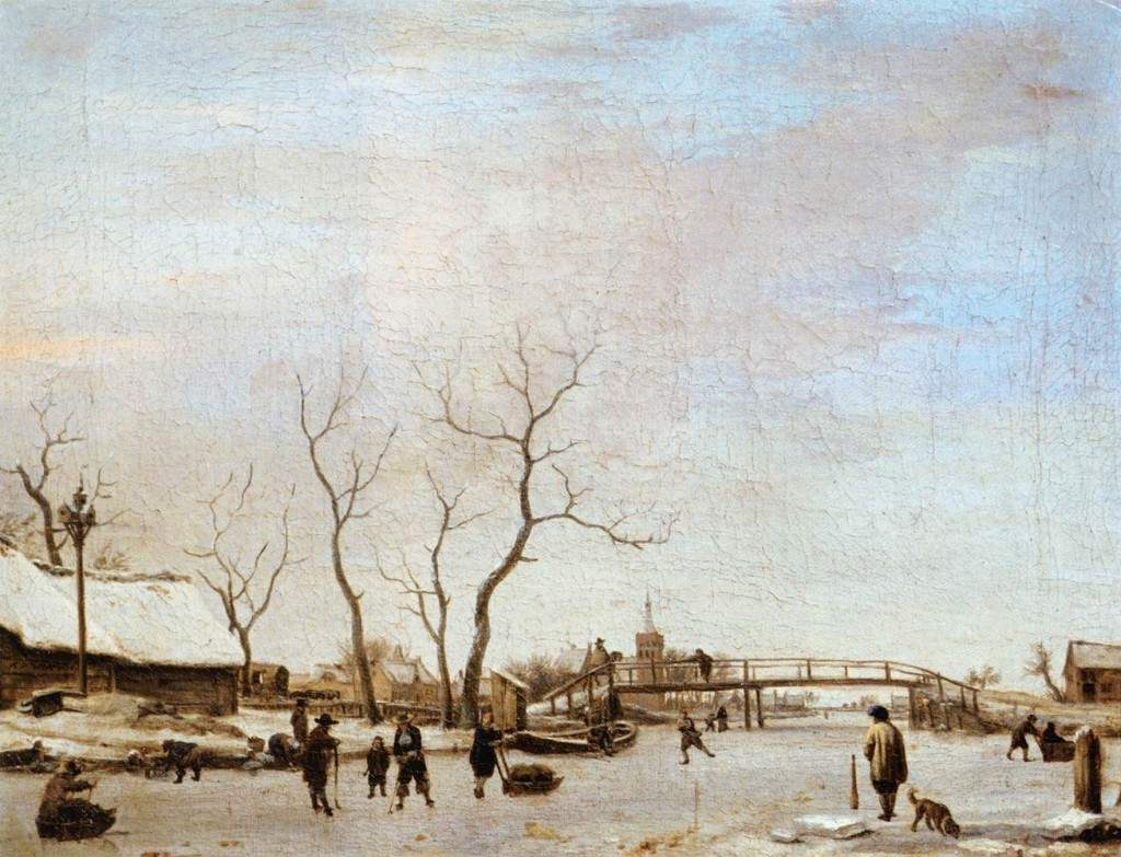 Frozen Canal with Skaters and Hockey Players 1668