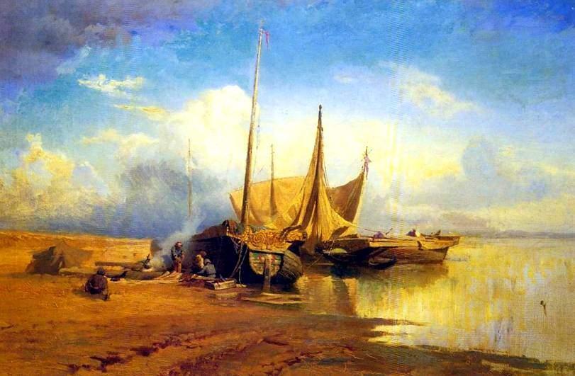 """""""Вид на Волге. Барки"""" (1870)"""