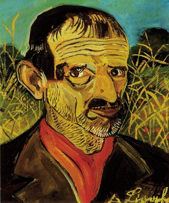 Self-Portrait with red scarf 1956