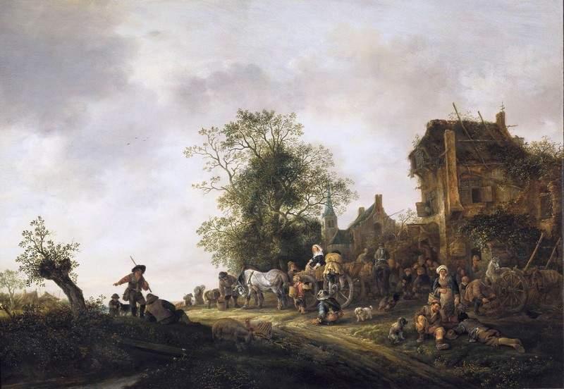 Travellers Outside an Inn 1645