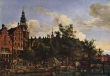 View of Oudezijds Voorburgwal with the Oude Kerk in Amsterdam 1670