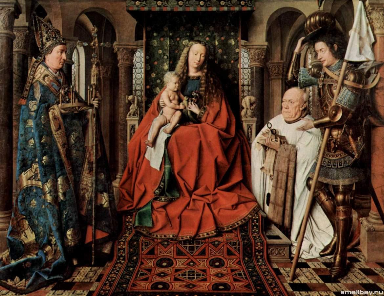 Мадонна с младенцем и каноник Йорис ван дер Пале, Ян ван Эйк