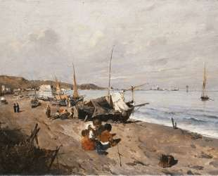 Boats and Children on the Beach — Константинос Воланакис