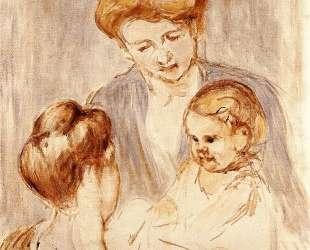 Дитя улыбается двум женщинам — Мэри Кассат
