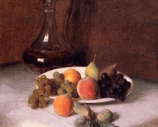 A Carafe of Wine and Plate of Fruit on a White Tablecloth — Анри Фантен-Латур