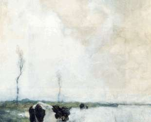 A Cow Standing By The Waterside In A Polder — Иохан Хендрик Вейсенбрух