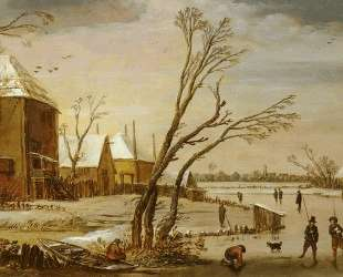A Frozen River with Skaters — Эсайас ван де Вельде