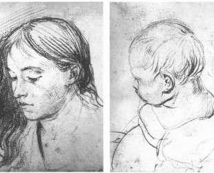 Девушка с распущеными волосами. Голова младенца — Орест Кипренский