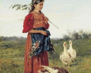 Девочка с гусями — Владимир Маковский