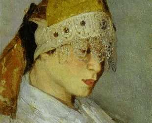 A Girl with Kokoshnik (Woman's Headdress in Old Russia) — Михаил Нестеров