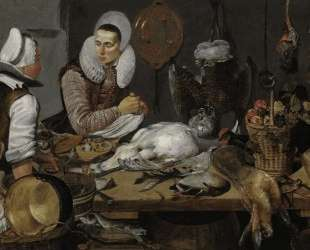 A Kitchen Interior with a Maid and a Lady Preparing Game — Франс Халс