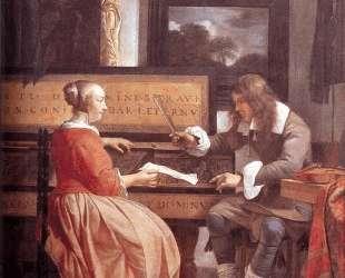 A Man and a Woman Seated by a Virginal — Габриель Метсю