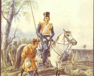A Mounted Cossack Escorting a Peasant — Александр Орловский