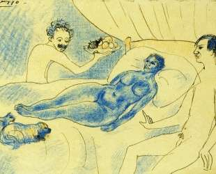 Пародия на 'Олимпию' Мане с Джуньером и Пикассо — Пабло Пикассо