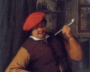 A Peasant in a Red Beret Smoking a Pipe — Адриан ван Остаде
