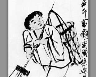 A peasant with a rake — Ци Байши