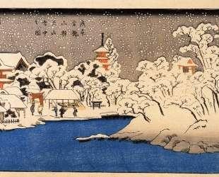 A Snowstorm at Kinryozan Temple — Утагава Куниёси