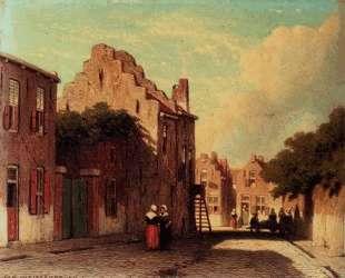 A Sunlit Townview With Figures Conversing — Иохан Хендрик Вейсенбрух