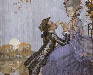 Юноша на коленях перед дамой. — Константин Сомов