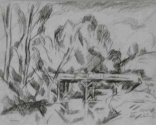 Абрамцево. Мост. Рисунок для картины 'Мост в Абрамцеве'. — Пётр Кончаловский