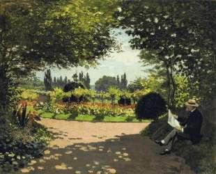 Адольф Моне читает в саду — Клод Моне