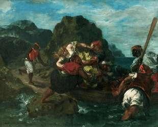 Африканские пираты похищают девушку — Эжен Делакруа