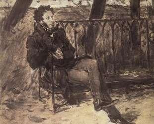 А. С.Пушкин на садовой скамье — Валентин Серов