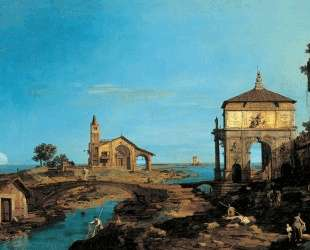 An Island in the Lagoon with a Gateway and a Church — Каналетто