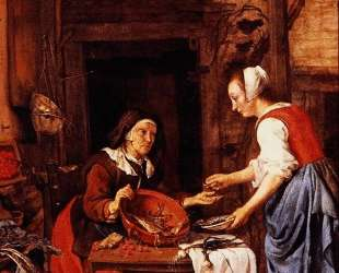 An Old Woman Selling Fish — Габриель Метсю